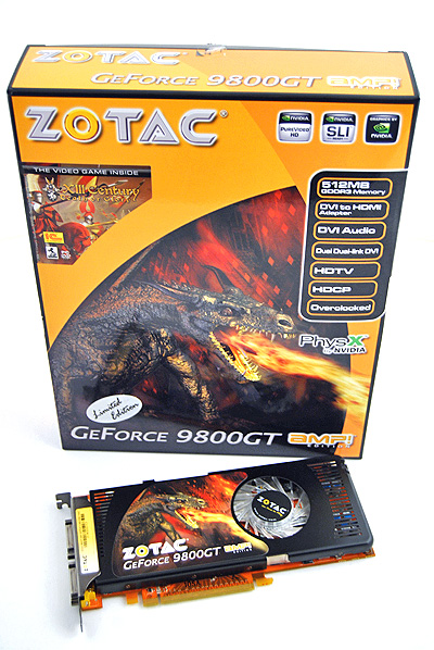 The Zotac 9800 GT AMP! Edition is packaged in a box that follows the same color scheme of their other offerings, which looks decent enough.