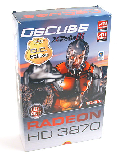 A tall, large and definitely not environmentally friendly package for this GeCube Radeon HD 3870. The hardware itself is RoHS compliant of course.