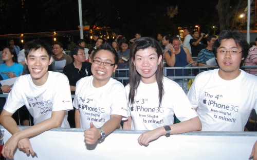 "The first four persons in Singapore to officially get an iPhone 3G (and not via ""imports"")."