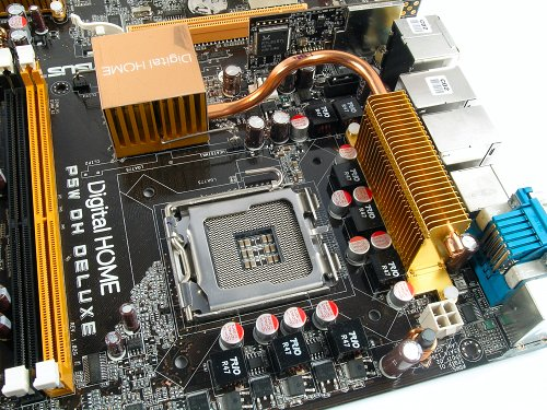 975X Express Nothbridge is cooled using a heat-pipe. Take note of the 8-phase VRM surrounding the CPU socket.
