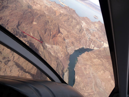 A shot of the Hoover Dam approaching in the distance.
