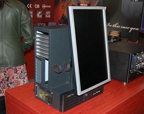 This is however the really interesting chassis � a DIY all-in-one PC, right down to even the monitor. You'll see later that Enlight has a more elegant version of this concept and is more ready to release to market. However, this model from Chieftec is completely DIY-able. You name a component, and you can configure it.