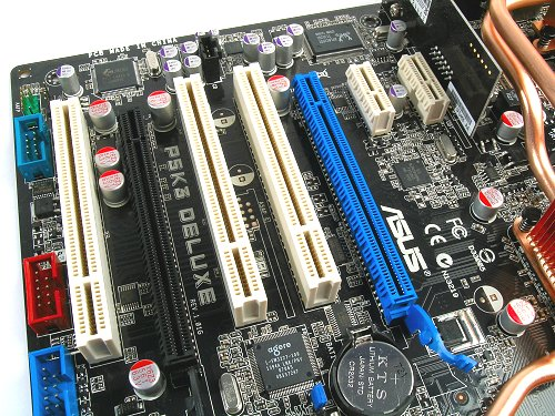 The last time we talked to ASUS regarding their stand on PCI Express, they believed that the majority of add-on cards will still be PCI based. While there are more PCI slots on the P5K/P5K3 Deluxe, notice that it is the PCIe x1 slots that will not be blocked by graphics card installations.