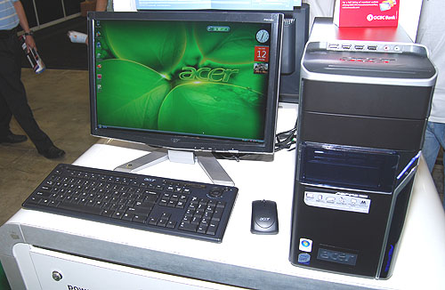 This Aspire M5620 is equipped with very decent specifications, including a Core 2 Quad Q9300 (2.5GHz), NVIDIA GeForce 8600 GT, 3GB of DDR2 memory and a 500GB SATA hard drive. Included too is a DVD writer, card reader and wireless LAN, keyboard and mouse. Acer will even include a free 24-inch LCD monitor and it will only set you back $1999.