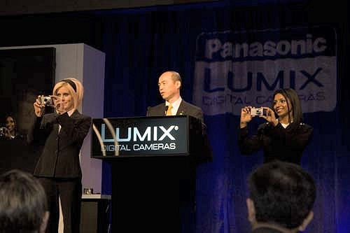 Mr. Tokikazu Matsumoto, the Director of Panasonic's AVC Networks Company, introducing the new lineup of Lumixes.
