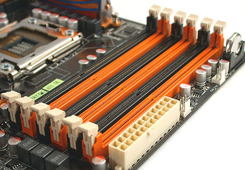 Six DIMM slots for DDR3 (up to 1333MHz) memory, supporting up to 24GB of RAM (with 4GB DIMMs when available) or up to 12GB (with 2GB DIMMs) through a 3-channel CPU integrated memory controller for a total memory bandwidth of 3200MB/s. This is one of the main highlights of the new platform and processor combination.