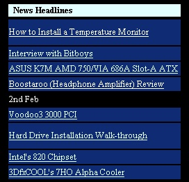Here's a sneak of the news headlines in early 2000 when the site hasn't yet taken on a new makeover. What would perhaps strike you most if you are a hardware follower since the early days is the news link on the Interview with Bitboys. They sure made a lot of hype but didn't make it much anywhere other than being bought by ATI in 2006 . Click for a better look of the entire news page.