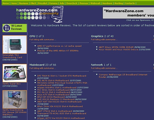 Here's a quick view of the reviews main page back then. Older articles from our previous interface were linked from another location and weren't yet reflected in this newer content management system after the site was re-launched.