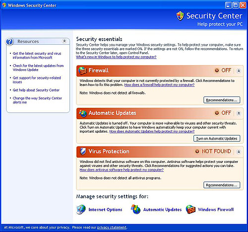 The Security Center as it is in Windows XP.