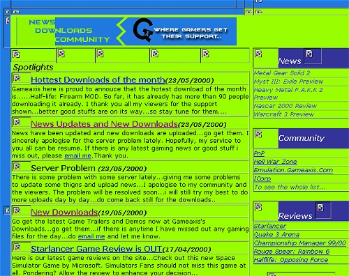 ... but check out the the funky colors of the early GameAxis homepage - quite a blast back to the past.