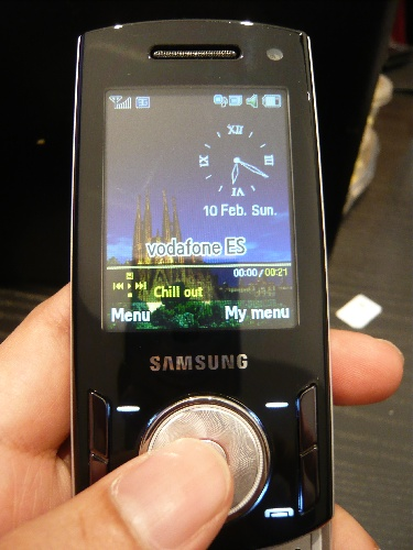 Here's a close-up of the dual-slider handset. The jog dial is a breath of fresh air from the usual navigation keys.