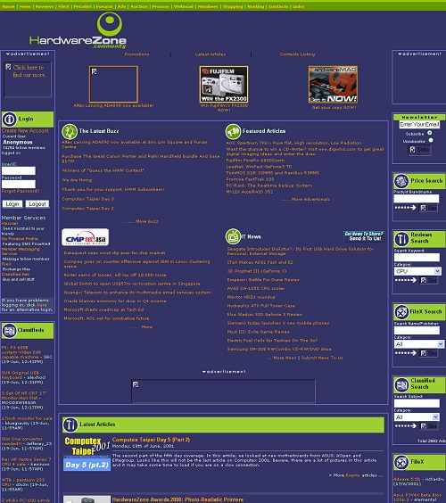In 2001, HardwareZone was still based on the same purple-motif, but it saw some layout changes to better accommodate more services and had a brand new logo that represents the online portal even today. Click for a lager view.