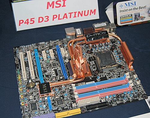 The MSI P45D3 Platinum features DrMOS technology and a 'streamlined' heatsink that in turn allows for a larger CPU cooler to be placed. Though MSI mentioned 'streamlined', the heatsinks on the board are actually quite elaborate, and yet they pose no trouble for most CPU coolers.