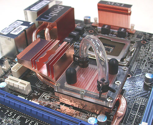 MSI's Circu-Pipe Liquid heatsink found on the P45 Diamond. Notice that some components seem to be missing? The retail version will be sold with a water cooling solution that has a module external of the chassis in order to minimize liquid leakage.