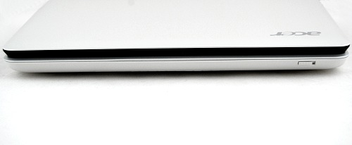 The front profile of the Aspire One keeps the same curves you saw from the top down view. Note that the button on the front isn't the power button but the Wi-Fi toggle.