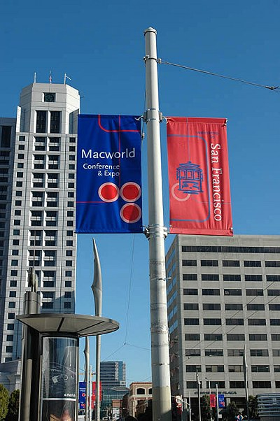 When you see these banners, you're in the vicinity of the Moscone Center. The Moscone Center South and the Moscone Center North buildings are only separated by a road.