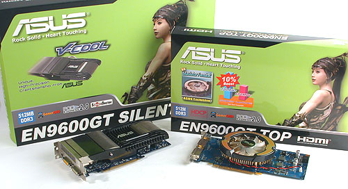 For some reason, the Silent version of the GeForce 9600 GT was found in a much larger package than the overclocked TOP edition.