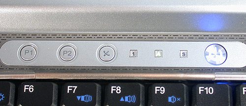 These shortcut or Quick Launch keys could have been better designed as the rather cryptic P1 and P2 labels on them are not exactly enlightening about their functions. The smaller squares besides them are indicator lights for Caps Lock, Num Lock and Scroll Lock.