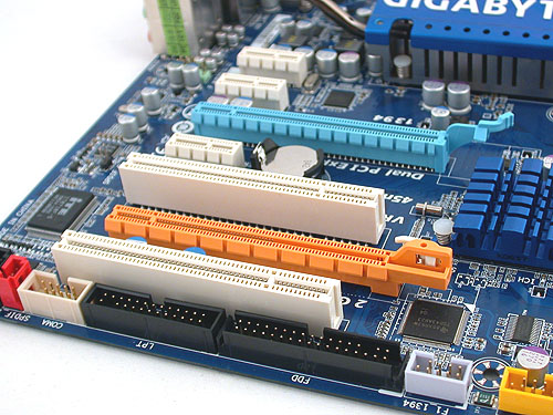 This Gigabyte board supports up to 16GB of DDR2-1366 (when overclocked). The power and IDE connectors are located near the edge of the board, as is often the norm nowadays.