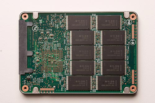 Inside the Intel solid-state drive is an array of NAND flash memory.