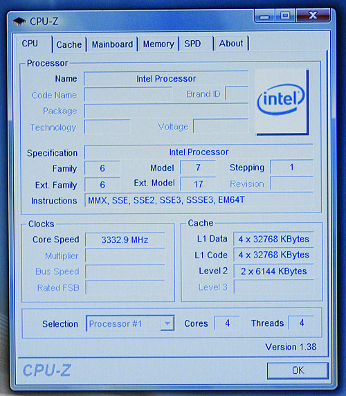 CPU-Z screenshot of Yorkfield (pre-production sample of quad-core 45nm Penryn). Note that some of the values detected by CPU-Z are inaccurate.