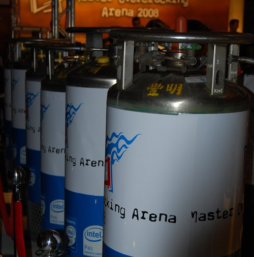 Large canisters of liquid nitrogen are ready for the contestants' overclocking attempts. It certainly looks like there's enough nitrogen here to cool the entire arena.