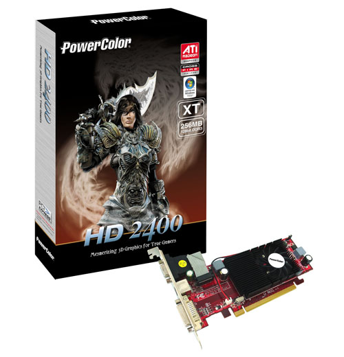 PowerColor sent us its Radeon HD 2400 XT in a plain vanilla box with no frills. However, there will be two editions of the XT for retail though both should have a similar box art like this.