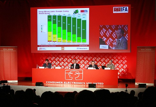 The third annual International Press Conference for the IFA 2008 was held in Majorca, Spain and it had 270 journalists from 42 countries attending. The presentation panel consisted of host Mr. Dave Graveline, Chief Editor and Producer of Into Tomorrow; Dr. Christian Goke, Chief Operating Officer of Messe Berlin; Dr. Rainer Hecker, Chairman of the Supervisory Board, gfu & Chairman on the Board of Loewe AG; and Mr. Jurgen Boyny, Global Director for Consumer Electronics, GfK Marketing Services.