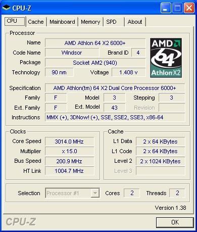 The CPU-Z screenshot of the Athlon 64 X2 6000+ processor.