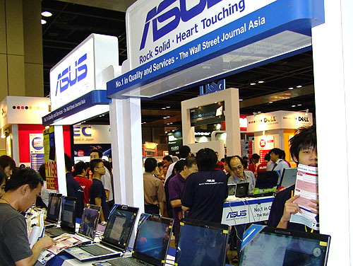 Bustling with activity, ASUS has quite a few booths at the PC Show, all showing its extensive range of PC and consumer electronics products.