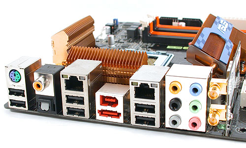 Like the ASUS P5E3 Deluxe, a Wi-Fi module with Draft-N support is included on the P5Q3 Deluxe. It also comes with dual Gigabit Ethernet ports and the PS/2 port has been reduced to one, and you can plug either the keyboard or mouse to it. As for the other input device, there are more than sufficient USB 2.0 ports.