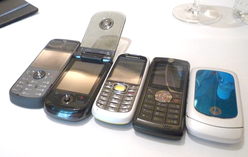 From left: the Motorola ZINE ZN5, which has been extensively covered in our earlier sneak peek during its official unveiling, Motorola MING A1600, VE538, W388 and finally the EM330.