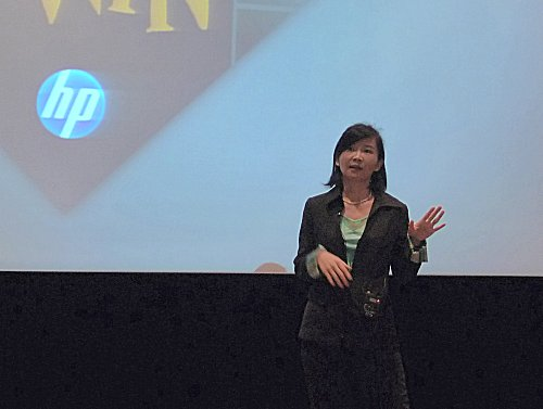 Serena Yong, General Manager for HP's Personal Systems Group (PSG) speaking to the press about the new solutions offered for commercial customers like the new EliteBooks and the Color LaserJets.