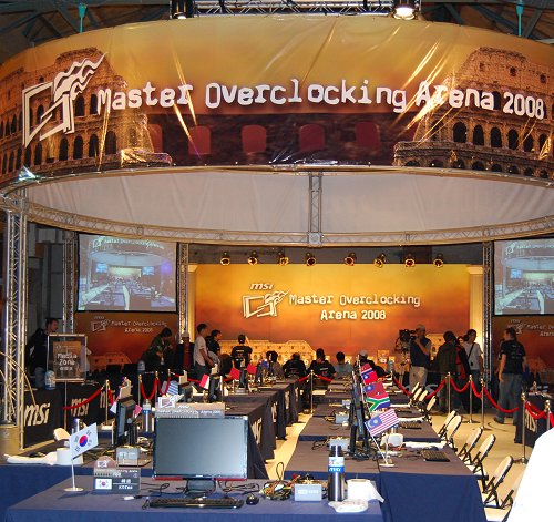 The cavernous warehouse-like arena for MSI's Master Overclocking Arena 2008. Each team of contestants is given a dedicated workbench to do their overclocking.
