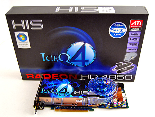 "The HIS Radeon HD 4850 IceQ 4 Turbo X comes in a compact, dark blue box, with the word ""IceQ 4"" plastered prominently over it. The card itself, as you can see, comes in matching blue."
