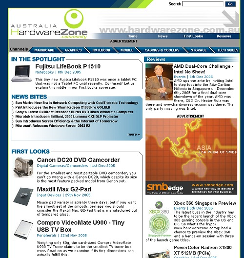 This is our HardwareZone Australia portal that was launched late in 2005.