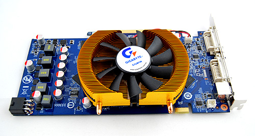 The Gigabyte 9800 GT might not be overclocked, but if the Zalman cooler is as effective as it looks, it should give us a good overclocking overhead.