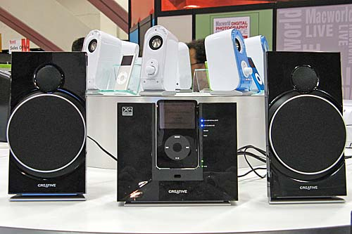 Creative's recently launched X-Fi Sound System has also progressed to support the iPod and here's one shown at their booth.
