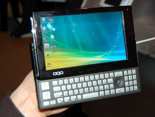 The OQO model 2+ is an expensive MID slated to cost around US$800. Runs on Windows Vista, 2B RAM, up to 120GB HDD or 64GB SSD, a 5-inch screen (800 x 480), Wi-Fi, LAN and WWAN.