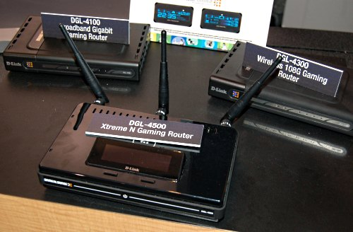 The sleek, black DGL-4500 also features D-Link's duo band networking that operates on the 2.4 and 5GHz bands, but specifically tweaked for gaming purposes, unlike the general task DIR-855 above. It features all Gigabit LAN ports and D-Link's proprietary GameFuel optimization, which basically reduces the priority of all other traffic when turned on so that game packets receive the most attention.
