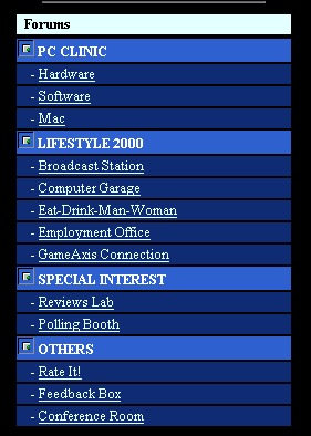 The forums listing during the late 1999 timeframe. Too bad we don't have any other screenshots of this stage of the forums.