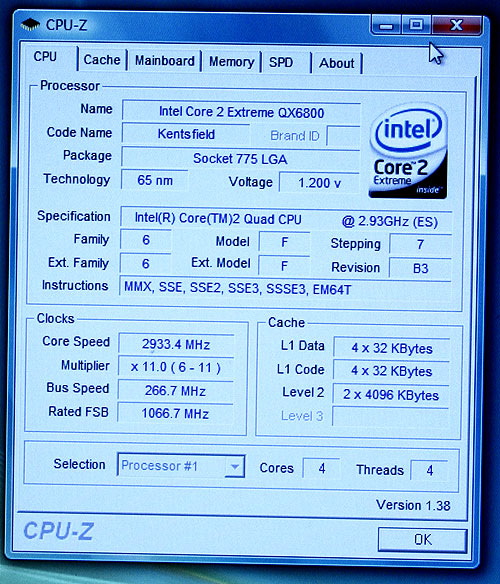CPU-Z screenshot of Kentsfield (Intel Core 2 Extreme Processor QX6800).