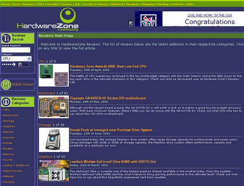 The Reviews homepage back in 2001, and already in this snapshot you can see articles from both the pioneers of the editorial team. Click for an expanded view.