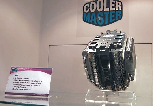 Another huge CPU cooler here, the V8 features a copper base, eight heat-pipes, fluid mechanics cooling system and dual sickle bladed fans for better airflow while keeping a quiet 19dBA operation.