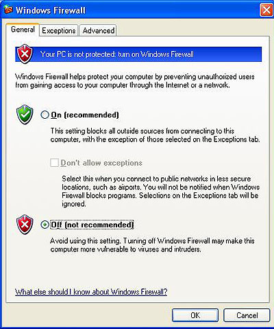 Windows XP's main Firewall options page.