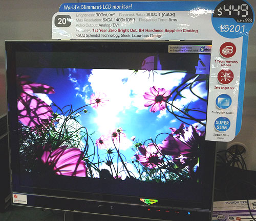 A reddot design award winner in 2007, the ASUS LS201 is a slim 20-inch standard LCD monitor with decent specifications like a 5ms response time and a 2000:1 contrast ratio. A free DVI cable worth $69 is thrown in for this monitor, which cost $449.