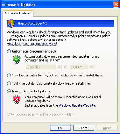 This is what the Automatic Update tab looks like in Windows XP.