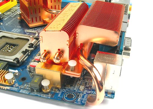 Crazy Cool heatsink snaps on to the rear of the main Silent-Pipe system. It doesn't touch any other part of the motherboard.