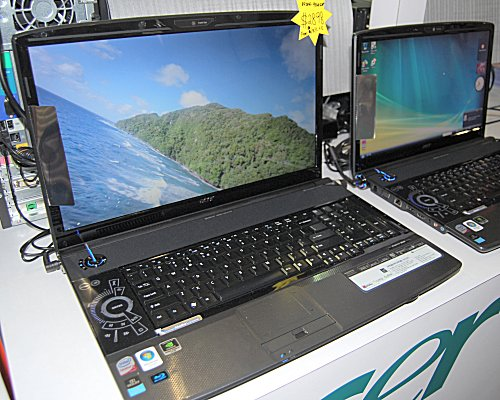 If cheap isn't on your mind - then go for broke with the Acer Aspire 8930G at $2898 that sports an Intel Core 2 Duo T9300 (2.5GHz) processor, NVIDIA GeForce 9650M GS discrete graphics, 3GB DDR2 RAM, 320GB HDD and an 18.4-inch display that should satisfy the eyes.