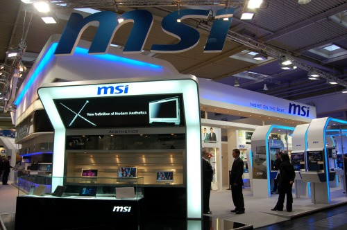 MSI's Booth @ CeBIT 2009. As you can see, their new notebooks are a big highlight at the show...